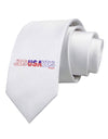 JesUSAves - Jesus Saves USA Design Printed White Necktie