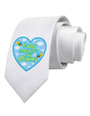 Happy Mother's Day Mommy - Blue Printed White Necktie