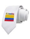 Colombia Flag Printed White Necktie