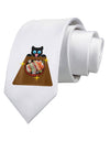 Anime Cat Loves Sushi Printed White Necktie