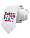 Happy Labor Day ColorText Printed White Necktie