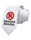 Meatless Monday Printed White Necktie