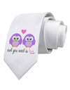 Owl You Need Is Love - Purple Owls Printed White Necktie