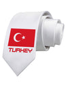 Turkey Flag with Text Printed White Necktie