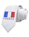 French Flag - France Text Distressed Printed White Necktie