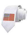 American Breakfast Flag - Bacon and Eggs Printed White Necktie