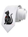 My Cat Is My Valentine Printed White Necktie