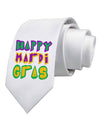 Happy Mardi Gras Text 2 Printed White Necktie
