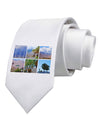 Palm Springs Square Collage Printed White Necktie