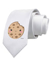 Cute Matching Milk and Cookie Design - Cookie Printed White Necktie