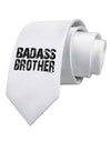 Badass Brother Printed White Necktie
