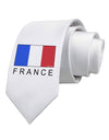 French Flag - France Text Printed White Necktie