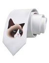 Cute Disgruntled Siamese Cat Printed White Necktie