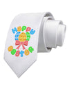 Happy Easter Easter Eggs Printed White Necktie