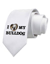 I Heart My Bulldog Printed White Necktie
