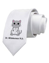Dr Whiskerson MD - Cute Cat Design Printed White Necktie