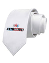 Hashtag 4th Of July Printed White Necktie