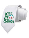 Kiss Me I'm Chirish Printed White Necktie