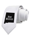New Mexico - United States Shape Printed White Necktie