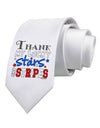 Thank My Lucky Stars and Stripes Color Printed White Necktie