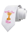 World's Best Mom - Number One Trophy Printed White Necktie