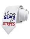 Oh My Stars and Stripes - Patriotic Design Printed White Necktie