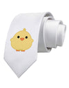 Cute Little Chick - Yellow Printed White Necktie