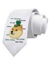 St Patricks Day Leprechaun Doge Printed White Necktie