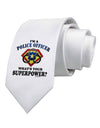 Police Officer - Superpower Printed White Necktie