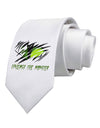 Unleash The Monster Printed White Necktie