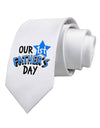 Our 1st Father's Day Printed White Necktie