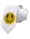 EDM Smiley Face Printed White Necktie