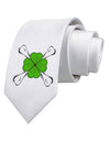 Clover and Crossbones Printed White Necktie