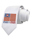 American Bacon Flag - Stars and Strips Printed White Necktie