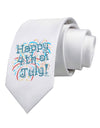 Happy 4th of July - Fireworks Design Printed White Necktie