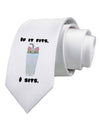 If It Fits - Cute Cat Design Printed White Necktie