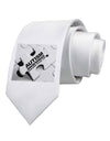Autism Awareness - Puzzle Black & White Printed White Necktie