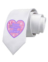 Happy First Mother's Day Mommy - Pink Printed White Necktie