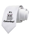 It's Caturday Cute Cat Design Printed White Necktie