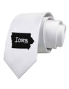 Iowa - United States Shape Printed White Necktie