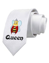 Queen Bee Text 2 Printed White Necktie