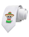 Cat with Sombrero and Poncho Printed White Necktie