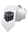 Autism Awareness - Cube B & W Printed White Necktie