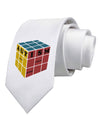 Autism Awareness - Cube Color Printed White Necktie