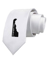 Delaware - United States Shape Printed White Necktie