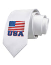 USA Flag Printed White Necktie