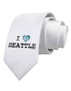 Distressed I Heart Seattle - Heart Flag Printed White Necktie