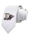 Come At Me Bro Big Horn Printed White Necktie