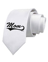 Mom - Sports Tail Script Printed White Necktie