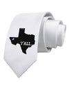 Texas State Y'all Design with Flag Heart Printed White Necktie